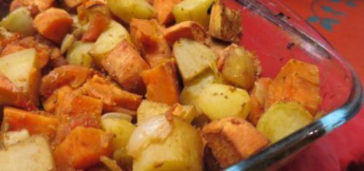 Duo de patates rôties au four