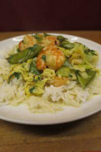 Crevettes au curry à l'actifry (110 kcal / portion de 200 gr)