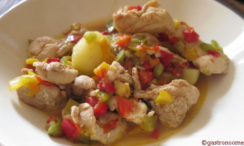 Emincé de poulet aux poivrons